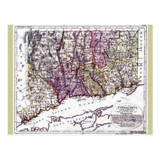 Mapa viejo 1796 de Connecticut Postal