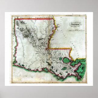Mapa viejo 1814 de Luisiana Posters