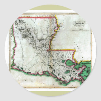 Mapa viejo 1814 de Luisiana Pegatina Redonda