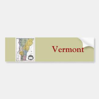 Mapa viejo 1814 de Vermont Pegatina De Parachoque