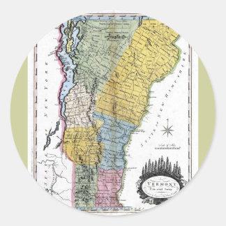 Mapa viejo 1814 de Vermont Pegatina Redonda