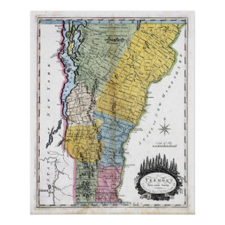 Mapa viejo 1814 de Vermont Póster
