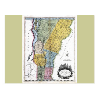 Mapa viejo 1814 de Vermont Tarjetas Postales
