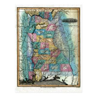 Mapa viejo 1826 de Alabama Tarjetas Postales