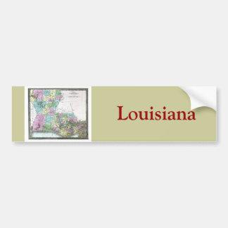 Mapa viejo 1848 de Luisiana Pegatina De Parachoque