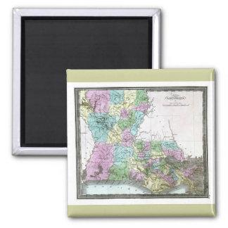 Mapa viejo 1848 de Luisiana Imán Para Frigorífico