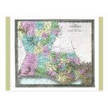 Mapa viejo 1848 de Luisiana Postales