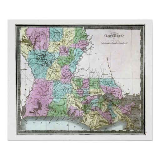 Mapa viejo 1848 de Luisiana Posters