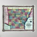 Mapa viejo 1854 de Arkansas Impresiones