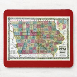 Mapa viejo 1856 de Iowa Alfombrilla De Raton