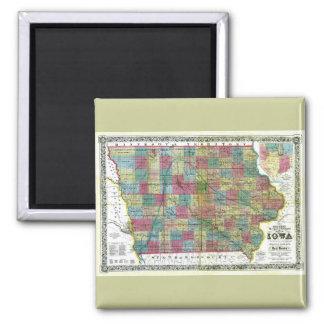 Mapa viejo 1856 de Iowa Imán Cuadrado