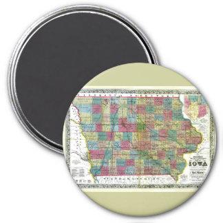 Mapa viejo 1856 de Iowa Imán Redondo 7 Cm