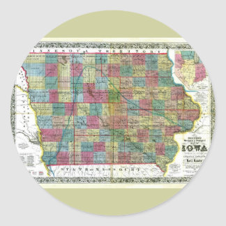 Mapa viejo 1856 de Iowa Pegatina Redonda