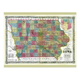 Mapa viejo 1856 de Iowa Postales