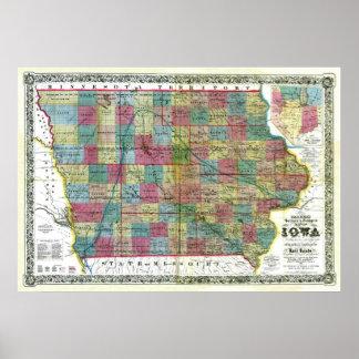 Mapa viejo 1856 de Iowa Póster