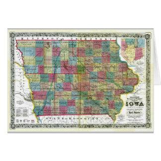 Mapa viejo 1856 de Iowa Tarjeta De Felicitación