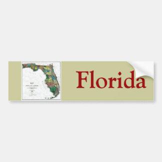 Mapa viejo 1856 de la Florida Etiqueta De Parachoque