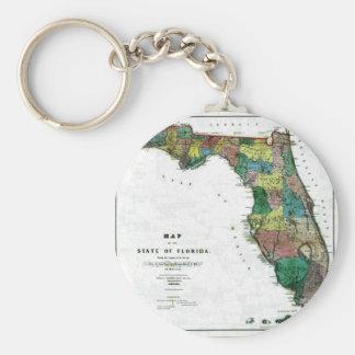 Mapa viejo 1856 de la Florida Llavero Redondo Tipo Pin