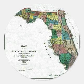 Mapa viejo 1856 de la Florida Pegatinas Redondas