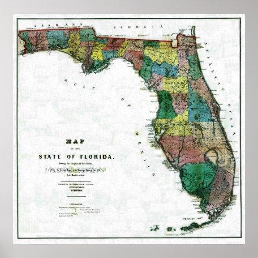 Mapa viejo 1856 de la Florida Póster