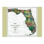 Mapa viejo 1856 de la Florida Tarjeta Postal