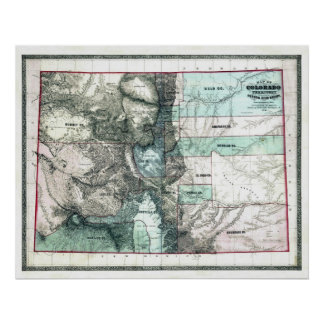Mapa viejo 1862 de Colorado Póster