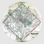 Mapa viejo 1862 del distrito de Columbia de Pegatina Redonda