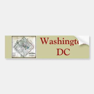 Mapa viejo 1862 del distrito de Columbia de Washin Etiqueta De Parachoque