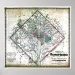 Mapa viejo 1862 del distrito de Columbia de Washin Impresiones