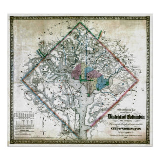 Mapa viejo 1862 del distrito de Columbia de Washin Póster
