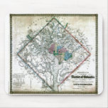 Mapa viejo 1862 del distrito de Columbia de Washin Alfombrillas De Raton