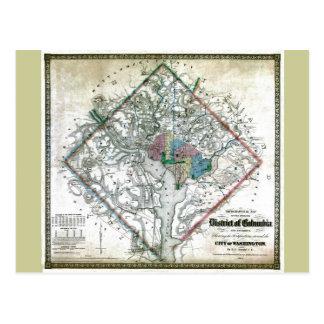 Mapa viejo 1862 del distrito de Columbia de Washin Postal