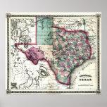 Mapa viejo 1866 de Tejas Impresiones