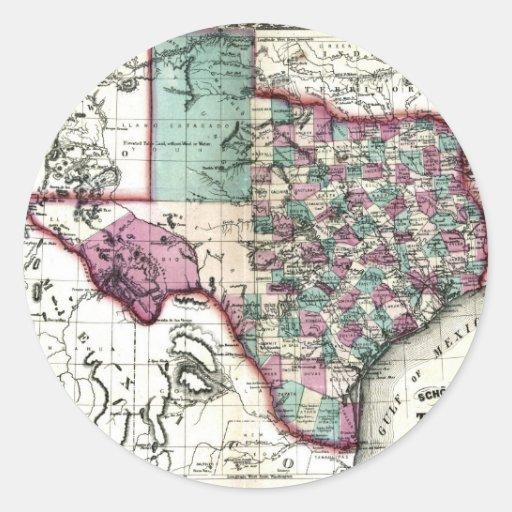 Mapa viejo 1866 de Tejas Pegatina Redonda