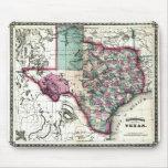 Mapa viejo 1866 de Tejas Tapete De Ratones