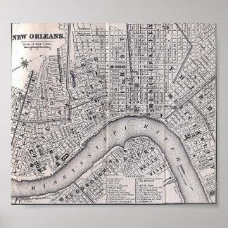 Mapa viejo 1869 del viaje de New Orleans Póster