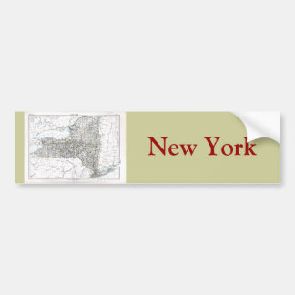 Mapa viejo 1884 de Nueva York Etiqueta De Parachoque