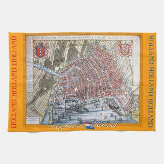 Mapa viejo Amsterdam Holanda Toallas De Cocina