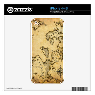Mapa viejo calcomanía para el iPhone 4