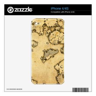 Mapa viejo calcomanías para el iPhone 4