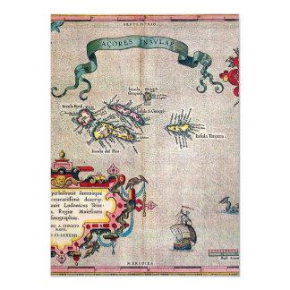 """Mapa viejo de Azores - exploración de la Invitación 4.5"""" X 6.25"""""""
