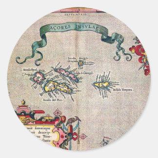 Mapa viejo de Azores - exploración de la Etiquetas Redondas