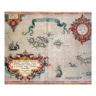 Mapa viejo de Azores - exploración de la Fotografias