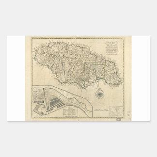Mapa viejo de Jamaica (1770) Pegatina Rectangular