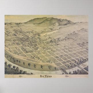Mapa viejo de la ciudad de 1886 El Paso Póster