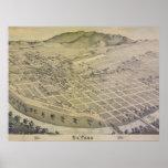 Mapa viejo de la ciudad de 1886 El Paso Posters