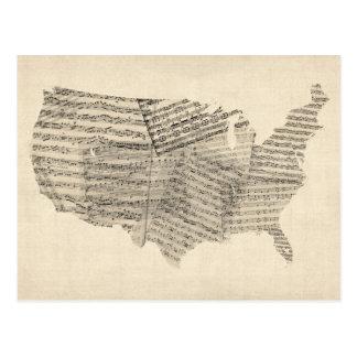 Mapa viejo de la partitura de Estados Unidos Postal