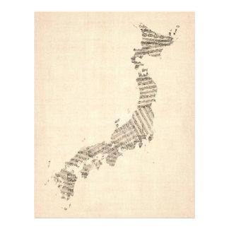 """Mapa viejo de la partitura de Japón Folleto 8.5"""" X 11"""""""