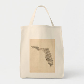 Mapa viejo de la partitura de la Florida Bolsa Tela Para La Compra