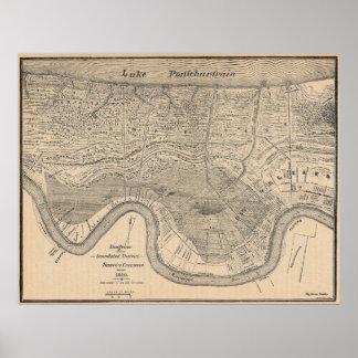 Mapa viejo de New Orleans Póster